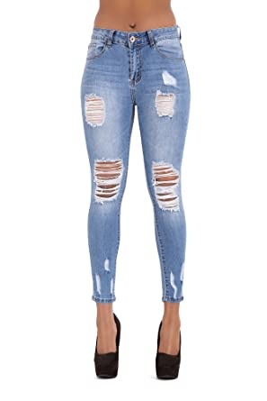 7f961c1b0ca5 LustyChic Women High Waisted Jeans Blue Faded Ripped Knees Distressed Jeans   Amazon.co.uk  Clothing