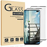 AILIBOTE Glass Screen Protector for Samsung Galaxy S10,[2 Pack] 3D Curved Tempered Glass, Dot Matrix with Easy Installation Tray, Case Friendly(Black)