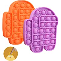 STONCH 2 PCS Among in us POP Bubble Sensory Fidget Toy Special Needs Stress Reliever,Squeeze Sensory Toy(Orange+Purple)
