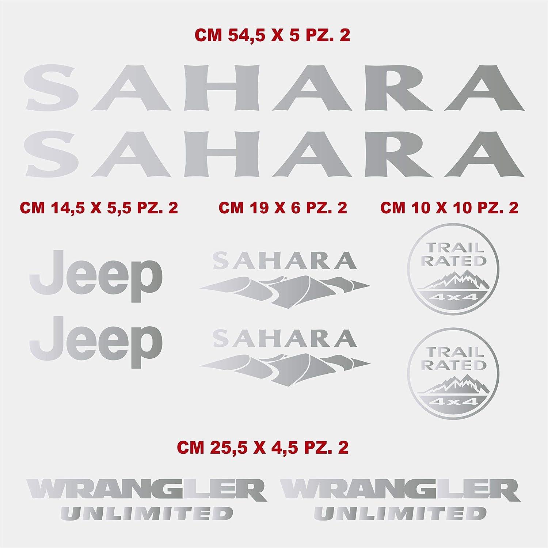 cod.1358 Scegli Colore Kit Adesivi Laterali Compatibile Jeep Wrangler Unlimited Sahara Auto Tuning Stickers 010 Bianco