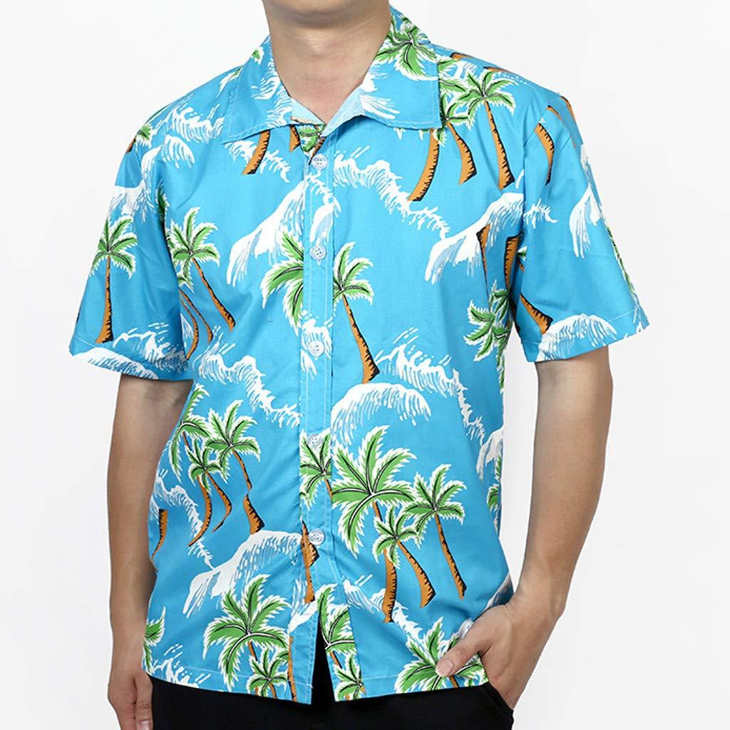 RNTOP Mens Casual Shirt Mens Hawaiian Shirt Short Sleeve Beach Party Flower Button Down Shirts