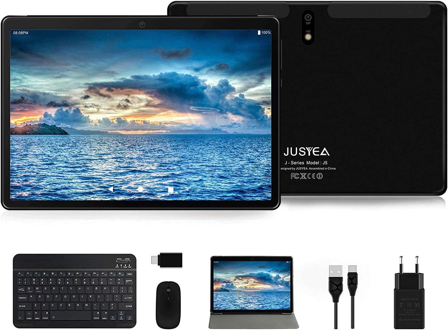 Tablet 10 Pulgadas Android 10.0 Tableta Ultra-Portátiles - RAM 4GB   64GB Expandible (Certificación Google GMS) -JUSYEA - Batería de 8000mAh - WiFi ...