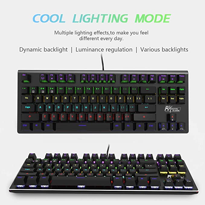 Guanwen Real Mechanical Gaming Keyboard,Blue Switch White Backlight Retro Plating Punk Keycaps Multimedia USB Wired Black Keyboard for PC Laptop//Computer