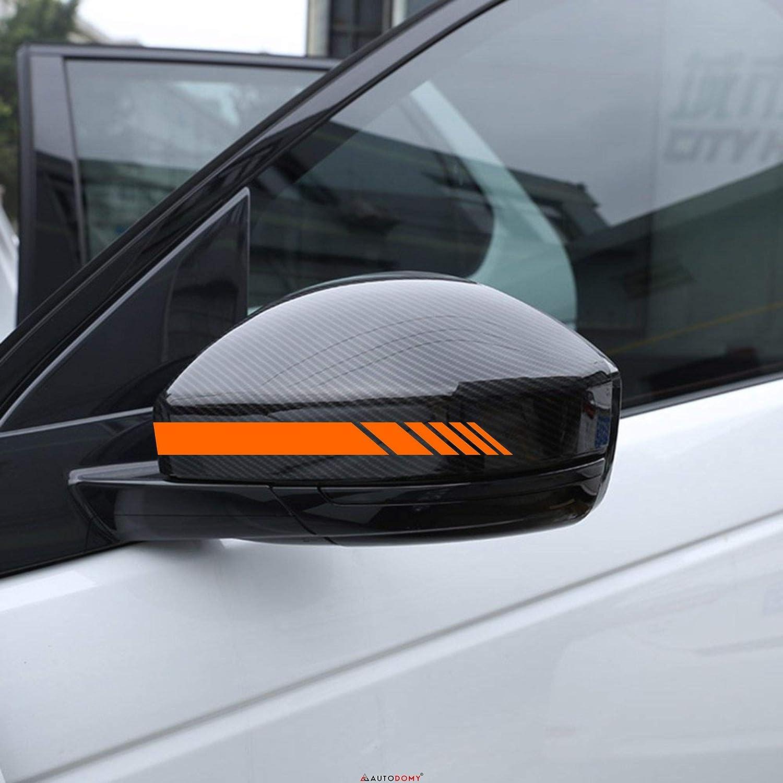 Giallo Fluorescenti Autodomy Confezione Adesivi per Specchietti Retrovisori Car Stripes Strisce Design Confezione da 6 unit/à con Diverse larghezze per Auto