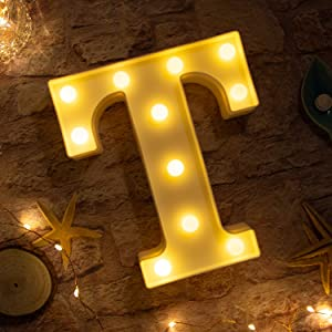 Brightown Decorative LED Marquee Letter Lights 26 Alphabet Light Up Letters Sign for Wedding Birthday Party Night Light Home Bar Decoration Battery Operated (T)