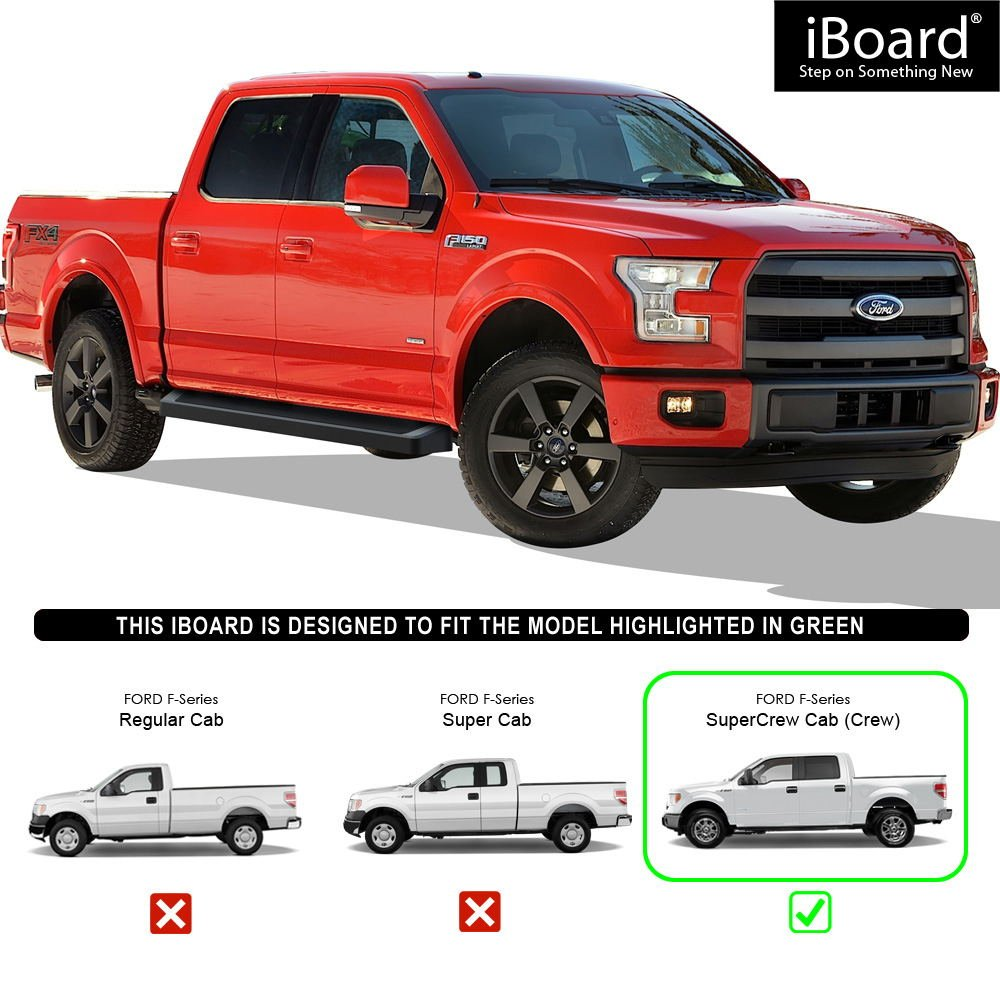 IBoard Black Running Boards Style Custom Fit 2015-2018