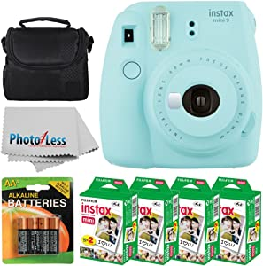 Fujifilm instax mini 9 Instant Film Camera (Ice Blue) + Fujifilm Instax Mini Twin Pack Instant Film (80 Shots) + Camera Case + 4 AA Batteries + Photo4Less Cleaning Cloth - Ultimate Accessory Bundle