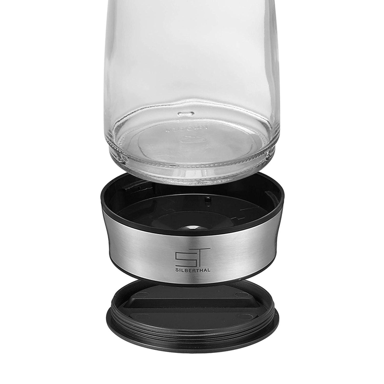 Cold Brew Coffee Maker Jarra Agua con Tapa de Acero Inoxidable para Nevera 1 litro SILBERTHAL Jarra de Agua de Cristal con Tapa Tetera para t/é y caf/é