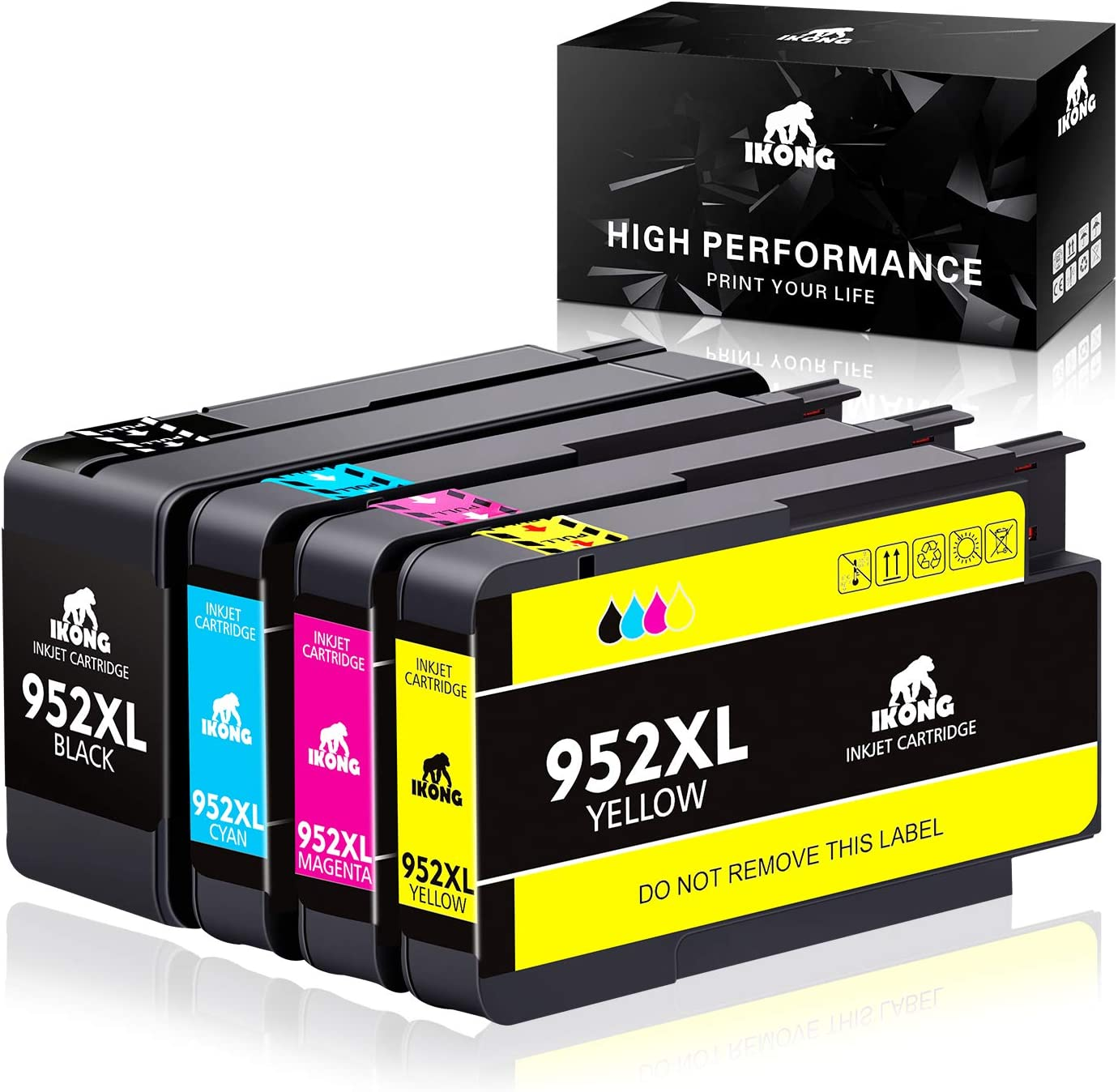IKONG Compatible Ink Cartridge Replacement for HP 952 XL 952XL Combo Pack Use with OfficeJet Pro 8710 8720 8740 8730 7740 8210 8715 8216 8725 8702 Printer (4-Pack)