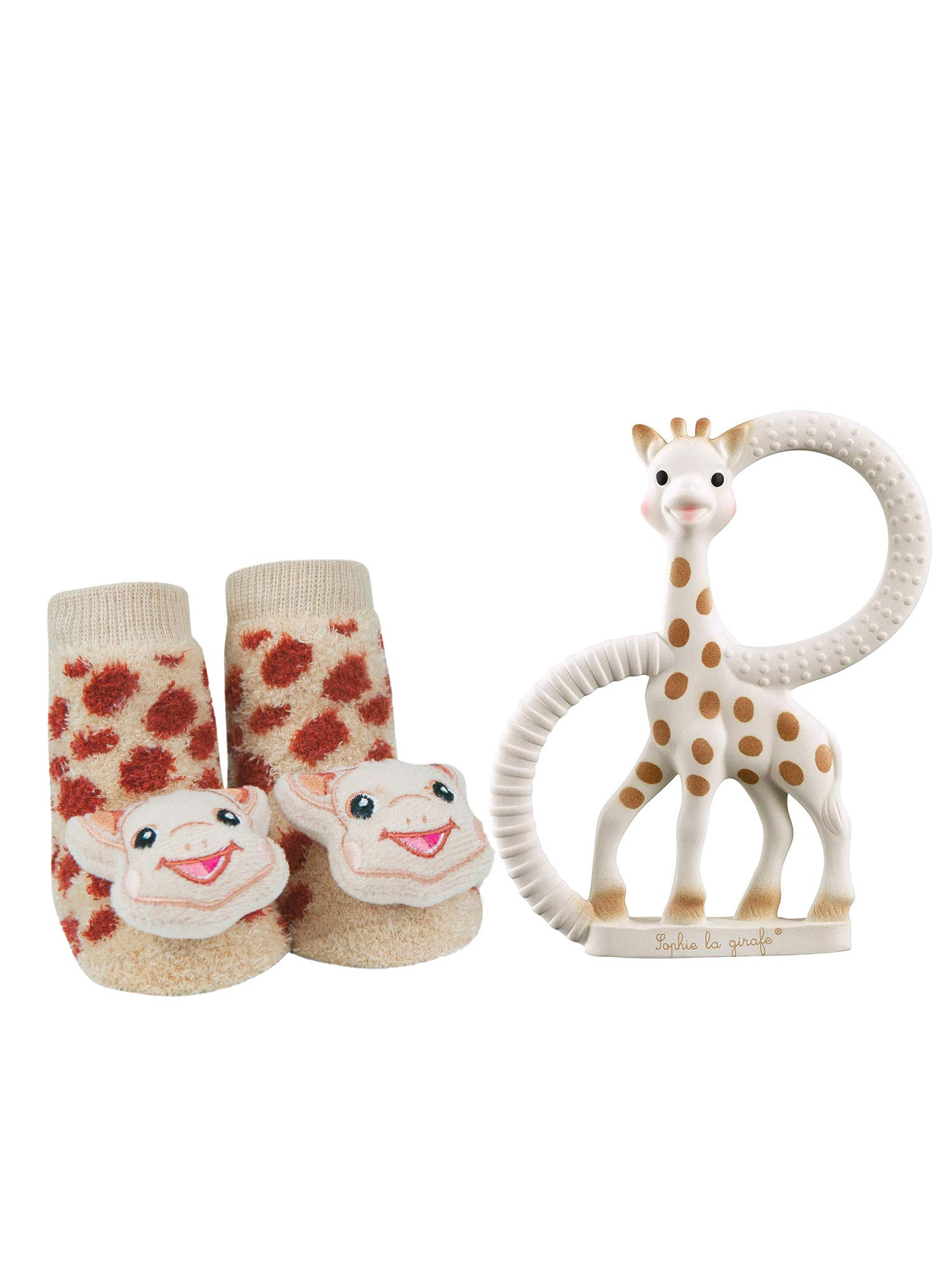 Vulli Sophie La Girafe Baby Teether Toy and Waddle Sophie The Giraffe Rattle Socks Newborn Set Natural Rubber Teething Ring Unisex Animal Sensory Chew Toys Gum Massager Oral Pain Relief Soother by Vulli