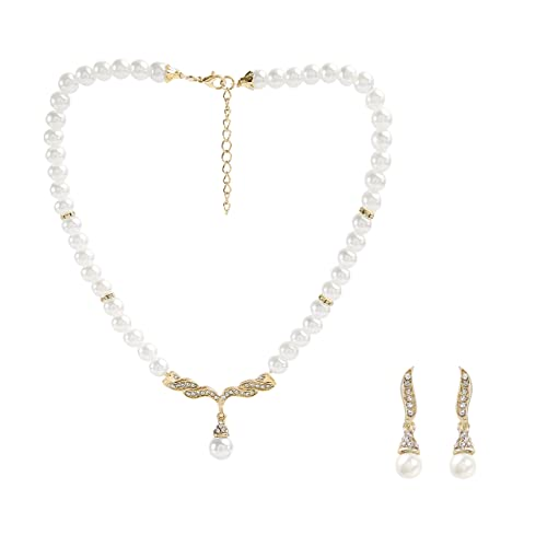 01313a531 Metme 1920s Pearls Rhinestone Necklace Earrings Accessories Set Great  Gatsby Party Jewelry Set, Milky +