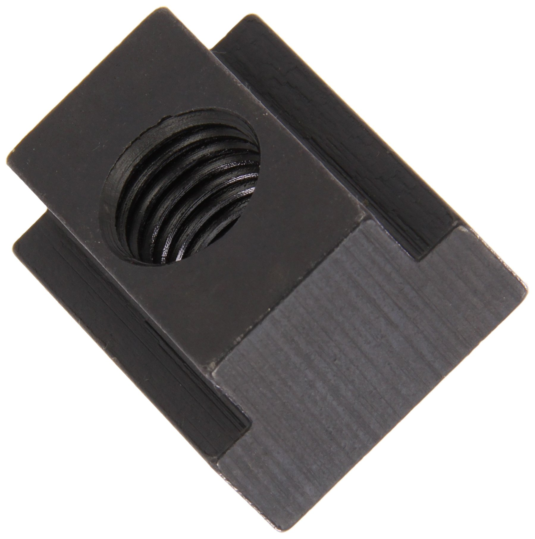 1018 Steel T-Slot Nut, Black Oxide Finish, Grade 5, Tapped Through, 3/8''-16 Threads, 5/8'' Height, 9/16'' Slot Depth, Made in US (Pack of 5)