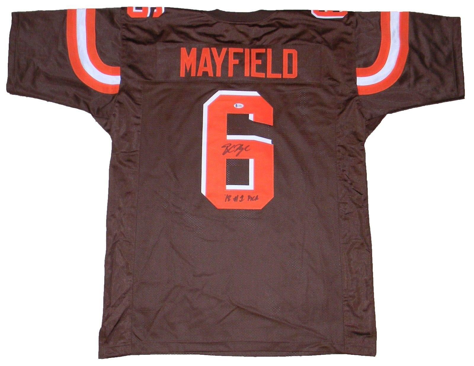 Cleveland Browns Baker Mayfield Autographed #6 Brown Jersey w/ #1 Pick Beckett COA