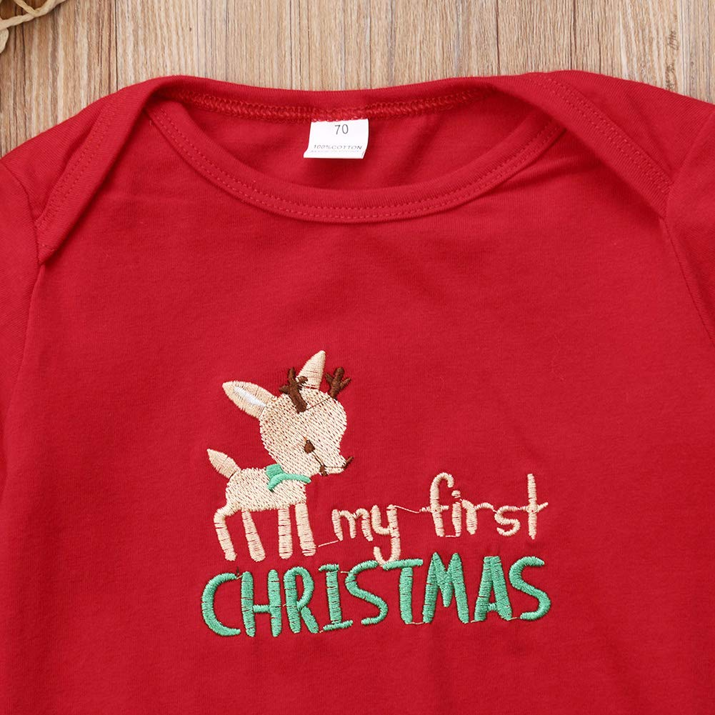 e1a8eca1d53 My First Christmas Outfit Toddler Newborn Baby Girls Xmas Romper+Bowknot Santa  Skirt+Headband 3PCS Set ...