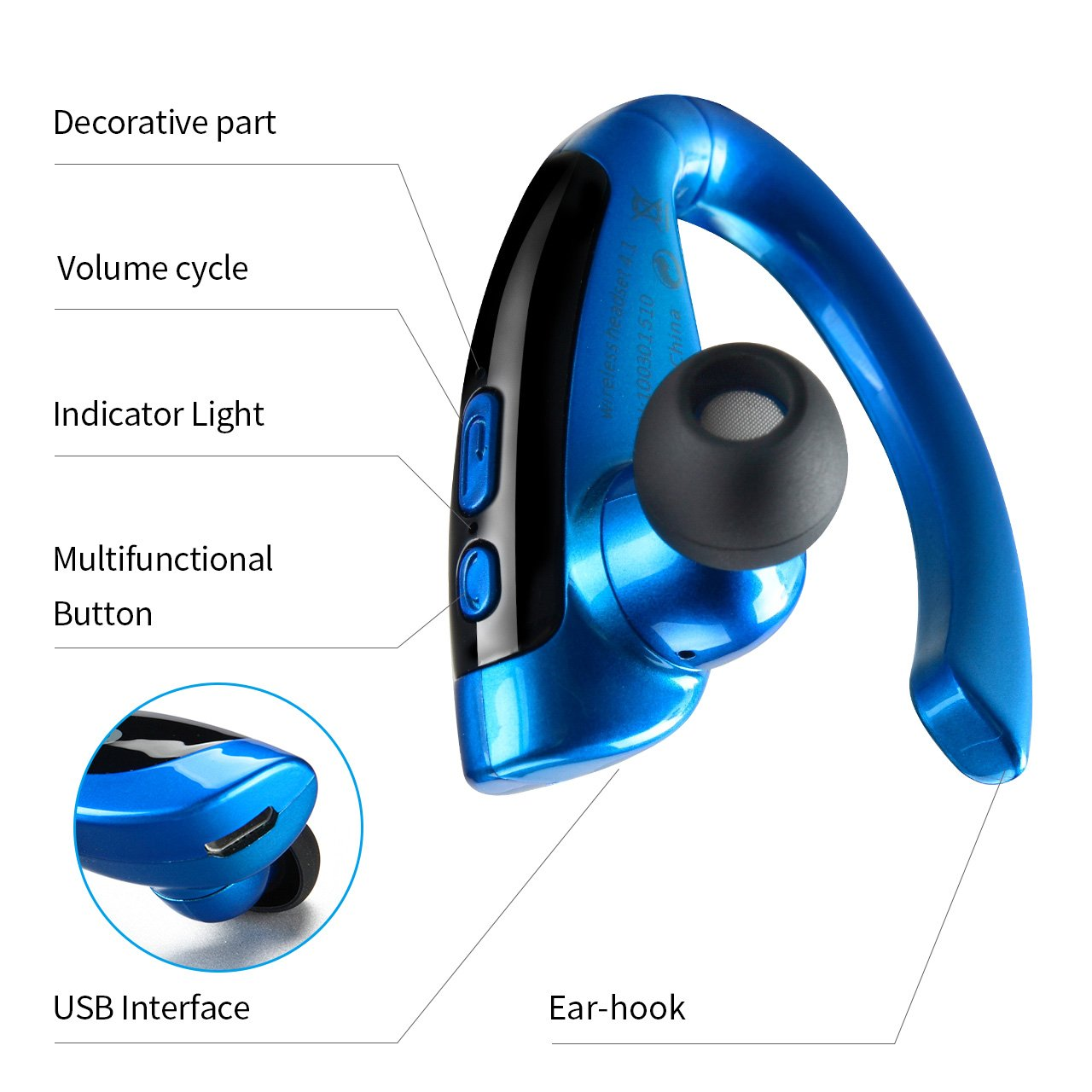 GUOER Wireless Bluetooth Headset V4.1 (Business Style) Headset Bass Sound Headphones Handsfree with Microphone for iPhone Samsung Huawei HTC, etc(Black/Blue)