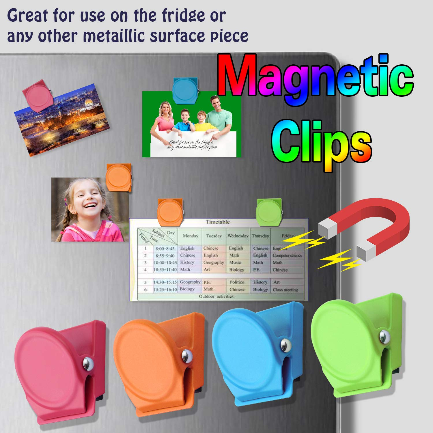 24 Pieces Magnetic Metal Clips Datedirect Magnetic Metal Paper Clips Holder Refrigerator Whiteboard Wall Fridge Locker Magnetic Memo Note Clips Magnets Metal Clip