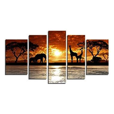 Yin Art 5-Panel Split Canvas Print-African Sunset Landscape with Wild Animals Giraffes Elephants-Framed Wall Art Ready to Hang