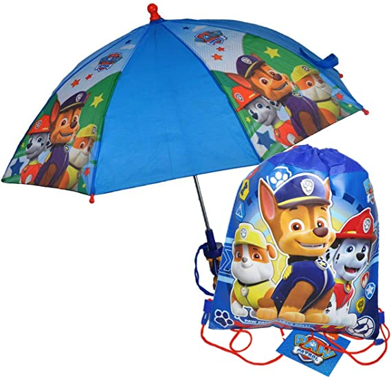 NEW Nickelodeon Paw Patrol Kids Umbrella with 3D Chase Figure Handle
