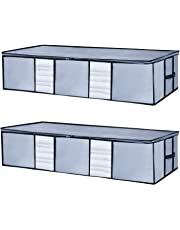 Seckon Underbed Storage Bags Container Organizers[Pack of 2] Large Foldable Zippered Under The Bed Storage Bags|Soft Breathable Anti-Mold Fabric Clothes Storage Bags with Clear Windows Grey Color