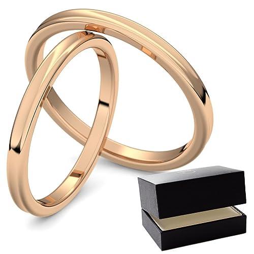258ee646ee10 Anillos de boda juego de par con grabado   específicamente eheringe oro  rosa par precio anillos ...