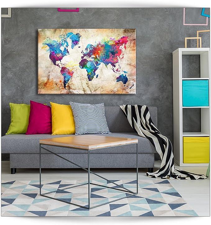 B/&D XXL murando Impression sur Toile intissee 120x80 cm Tableau Tableaux Decoration Murale Photo Image Artistique Photographie Graphique 1 Piece Carte du Monde k-A-0099-b-a