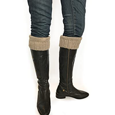 100% Superfine Alpaca Hand Knit Boot Topper - Single Cable Design Shoe Cuff (Heather Brown) at Amazon Women's Clothing store