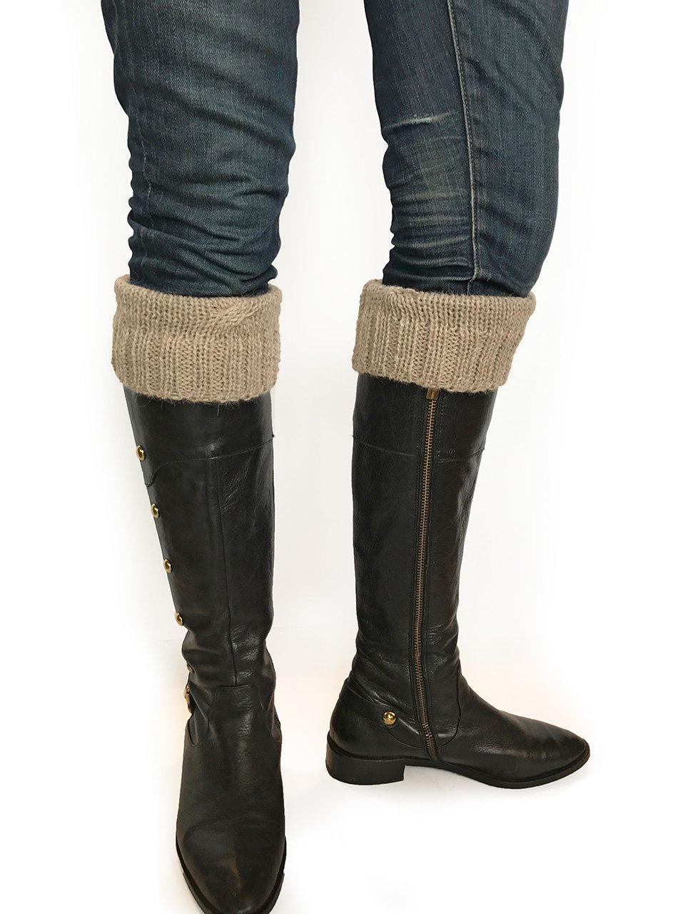 100% Superfine Alpaca Hand Knit Boot Topper - Single Cable Design Shoe Cuff (Heather Brown)