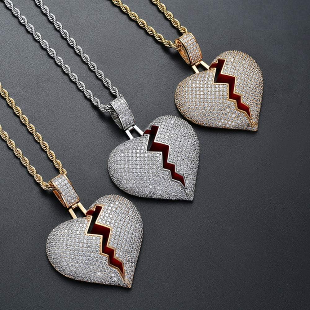 NA Heart Broken Chain Iced Out Broken Heart Pendant Chain for Men