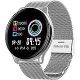 SmartWatch com Monitor Cardíaco, Monitor de Sono e Pressão Sanguínea para iOS e Android,prata/Faixa de aço inox