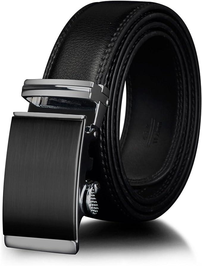 Men Genuine Cowhide Leather Automatic Lock Silver Gold Buckle Dress Black Belt