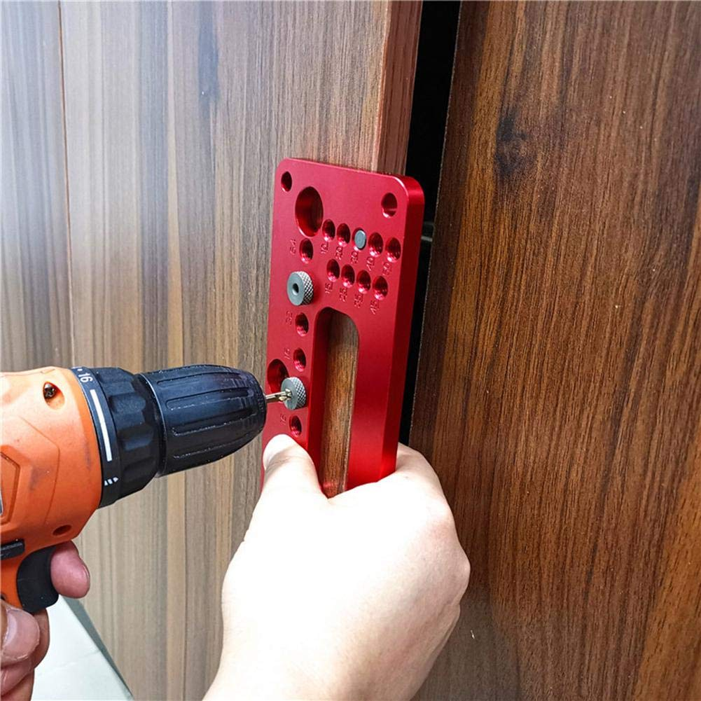 Guide de per/çage poign/ées de porte outils /à main 294751.02 menuiserie Rouge 200 * 90 * 30mm localisateur de trou en aluminium pour meubles