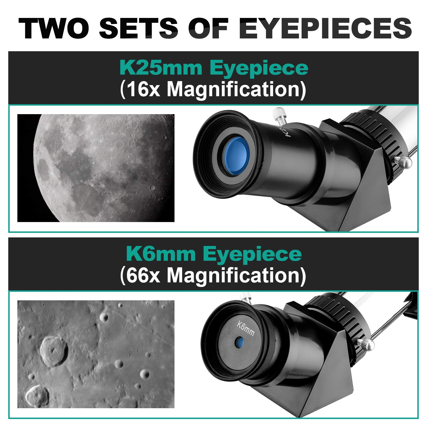 MAXLAPTER Telescope for Kids and Beginners, 70mm Travel Refractor Telescope for Astronomy with Adjustable Tripod, Smartphone Adapter, Camera Shutter Wire Control, Backpack by MAXLAPTER (Image #3)