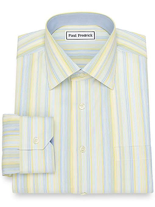 1920s Style Mens Shirts | Peaky Blinders Shirts and Collars Paul Fredrick Mens Slim Fit Non-Iron Stripe Dress Shirt $94.50 AT vintagedancer.com