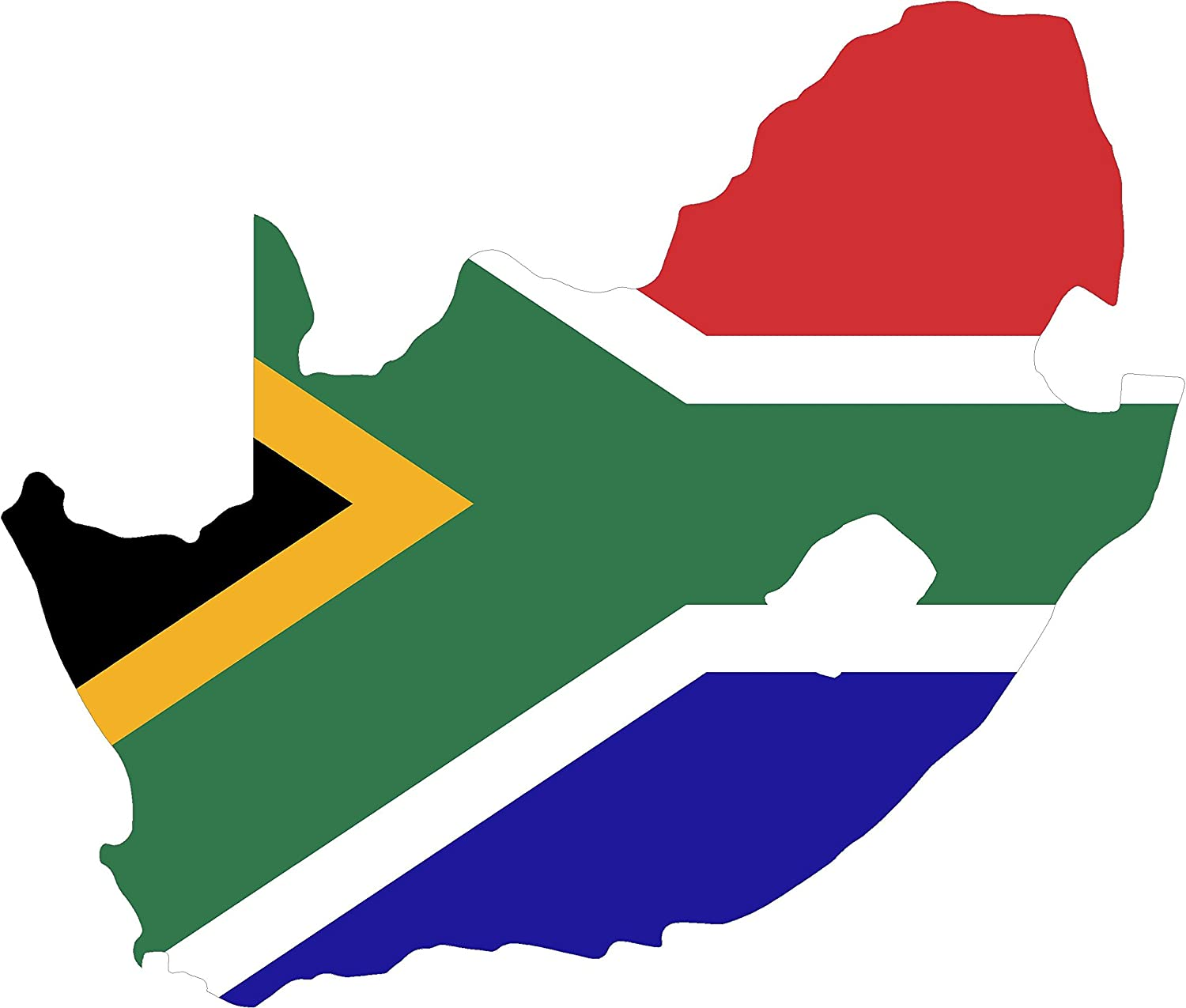 Map with Flag Inside South Africa 4x4.5 Sticker Decal die Cut Vinyl - Made and Shipped in USA