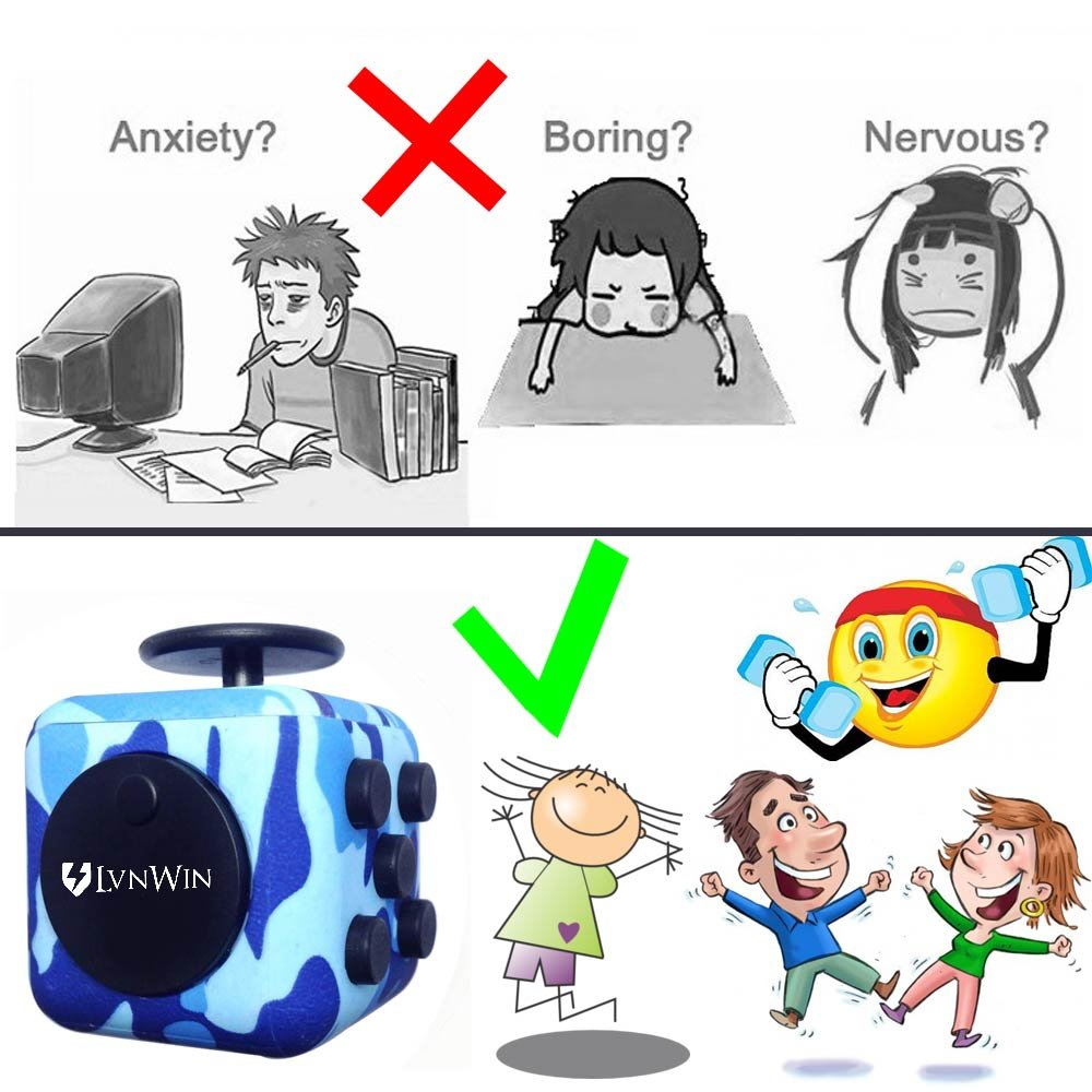 LvnWin Fidget Cube Dice Toy Stress Reducer Helps Focusing Relax Anti-Anxiety Boredom For ADD, ADHD, EDC, Kids and Autism Adult Children (Camo Blue) by LvnWin (Image #2)