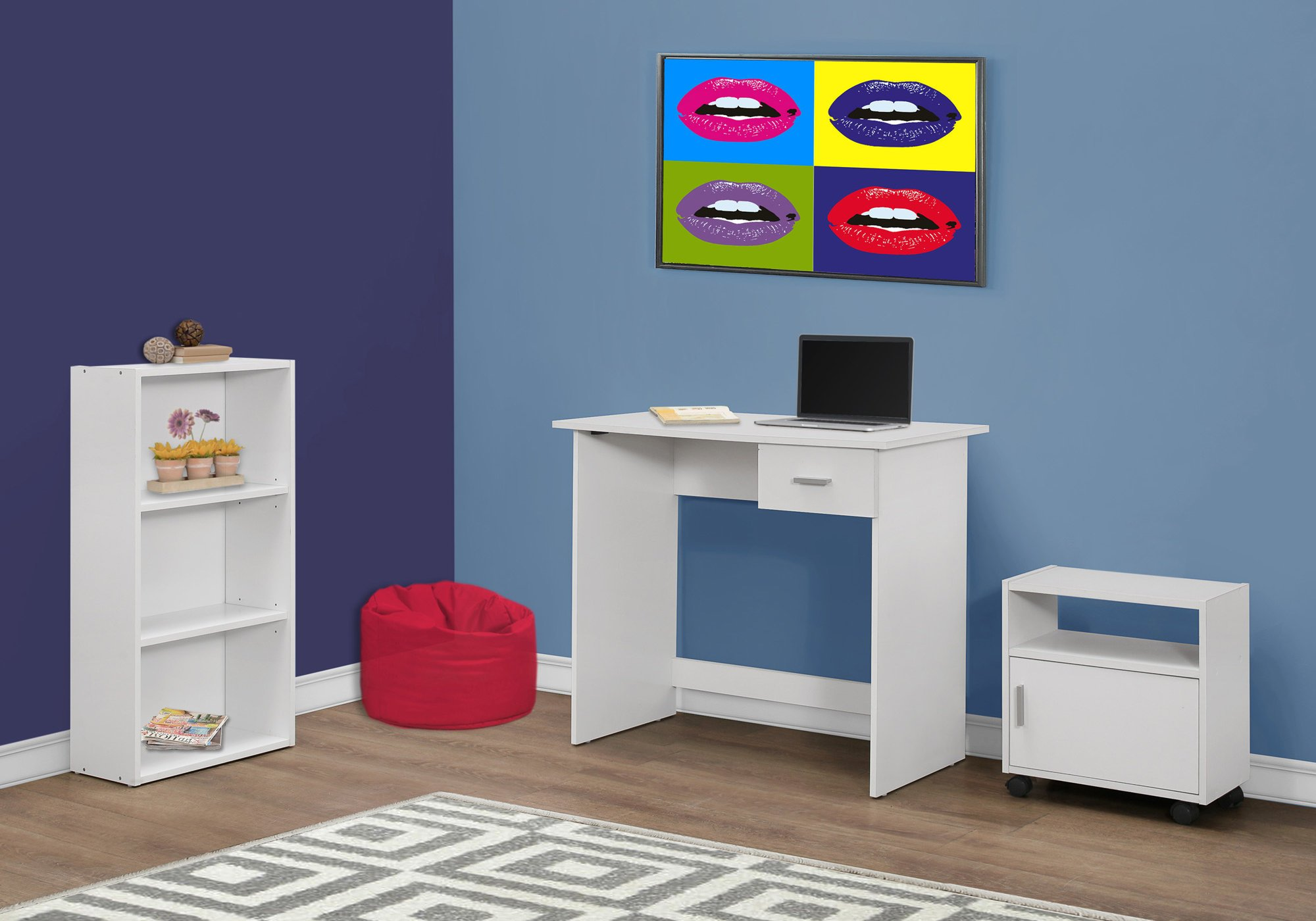 Monarch 3 Piece Computer Desk, White