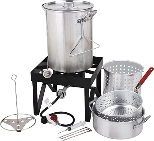 Backyard Pro 30 Qt. Deluxe Aluminum Turkey Fryer Kit Steamer Kit – 55,000 BTU Many Accessories Thanksgiving Propane Outdoor Cooking