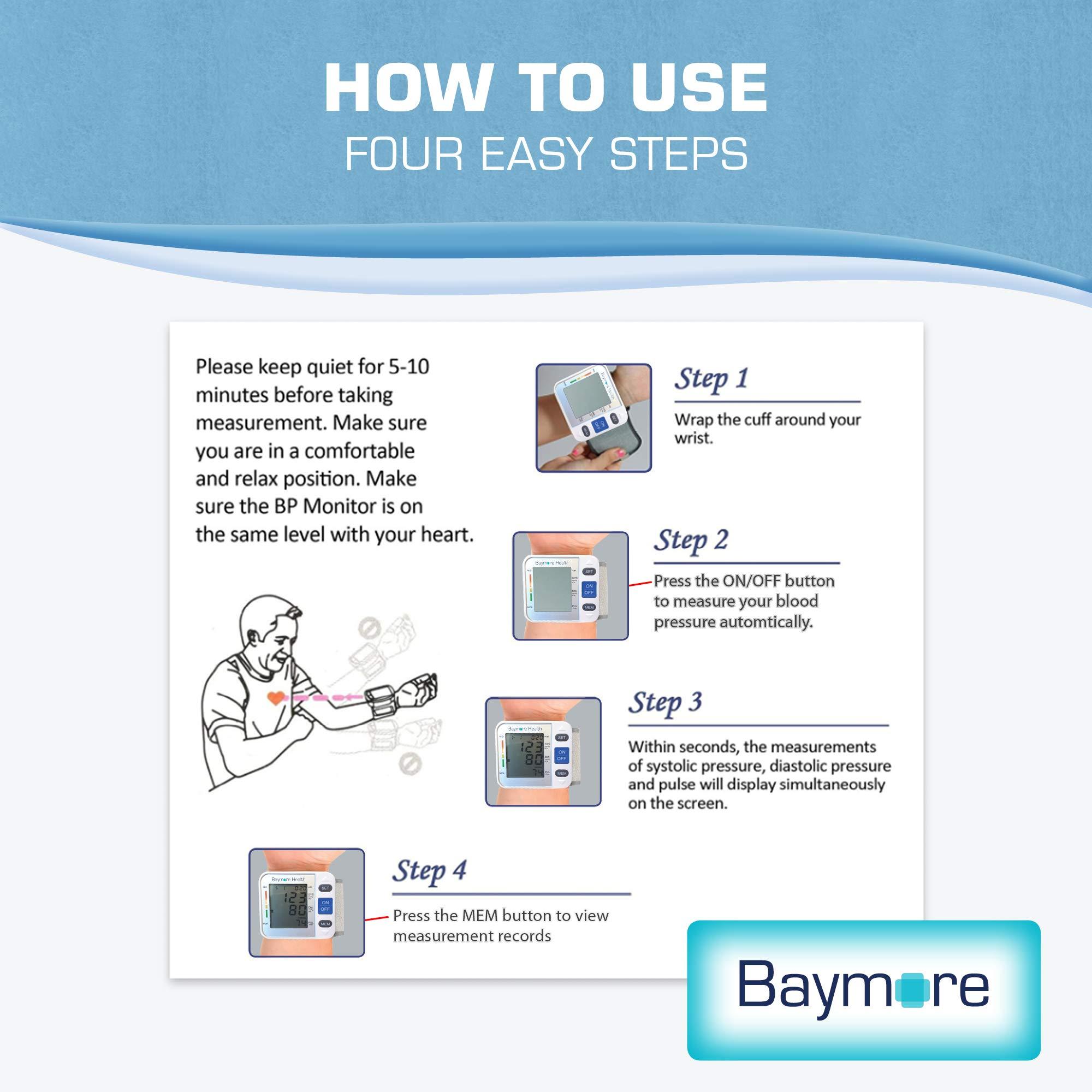 Baymore Digital Wrist Blood Pressure Monitor Cuff by Baymore (Image #7)