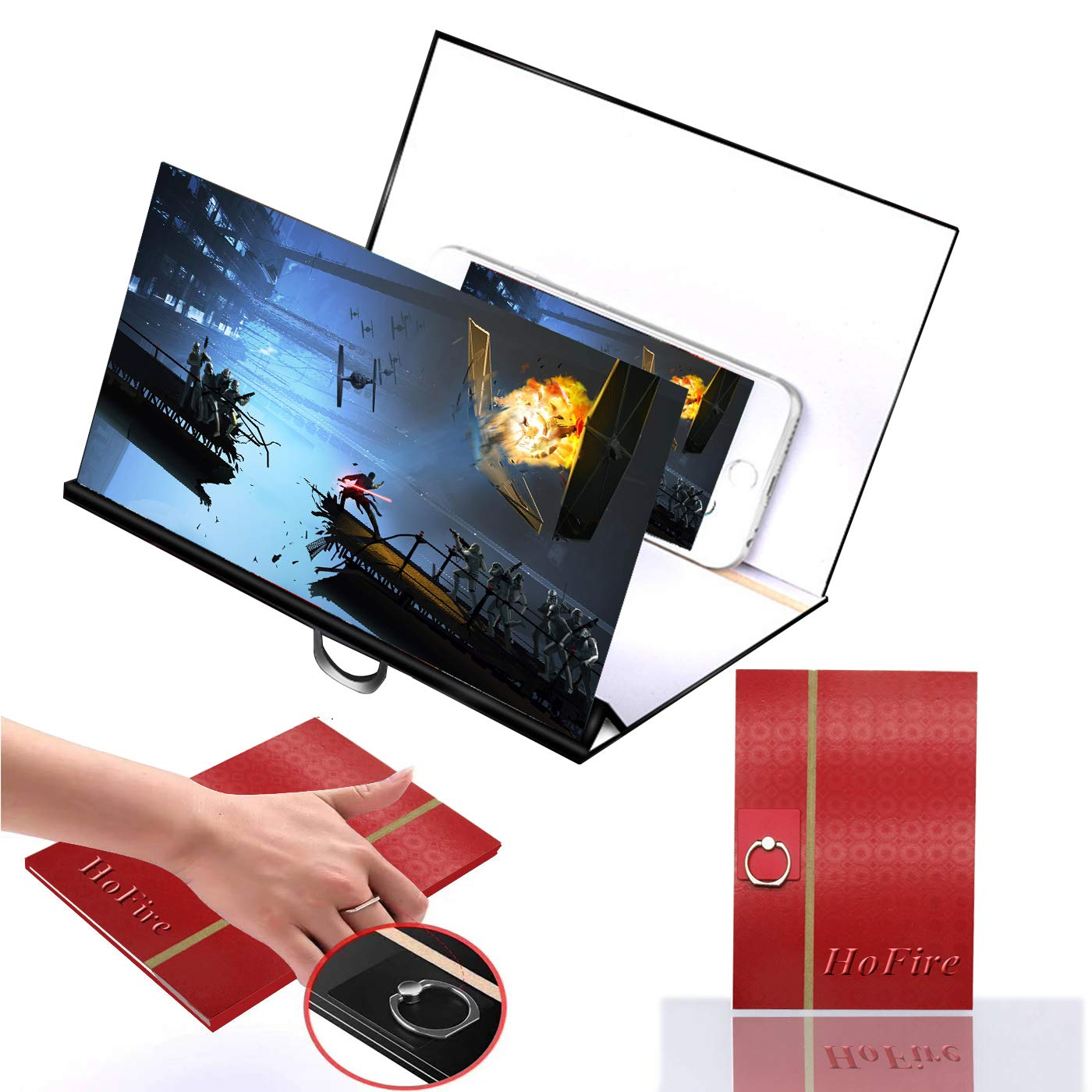 [Upgrade Newest] Screen Magnifier, HoFire Cell Phone 3D HD Movie Video Amplifier with Foldable Holder Stand for All Smart Phones