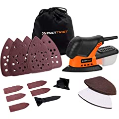 Product Image: Enertwist Mouse Detail Sander -13000OPM Lightweight Small Sander with Dust Box for Tight Corner and Small Hard-to-reach Areas Wood Sanding, ET-DS-100