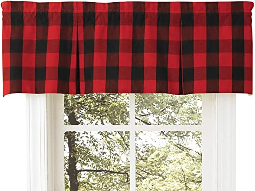 Park Designs Buffalo Check Lined Pleat Valance, Window Curtain Drapery, Red Black, 45 X 15