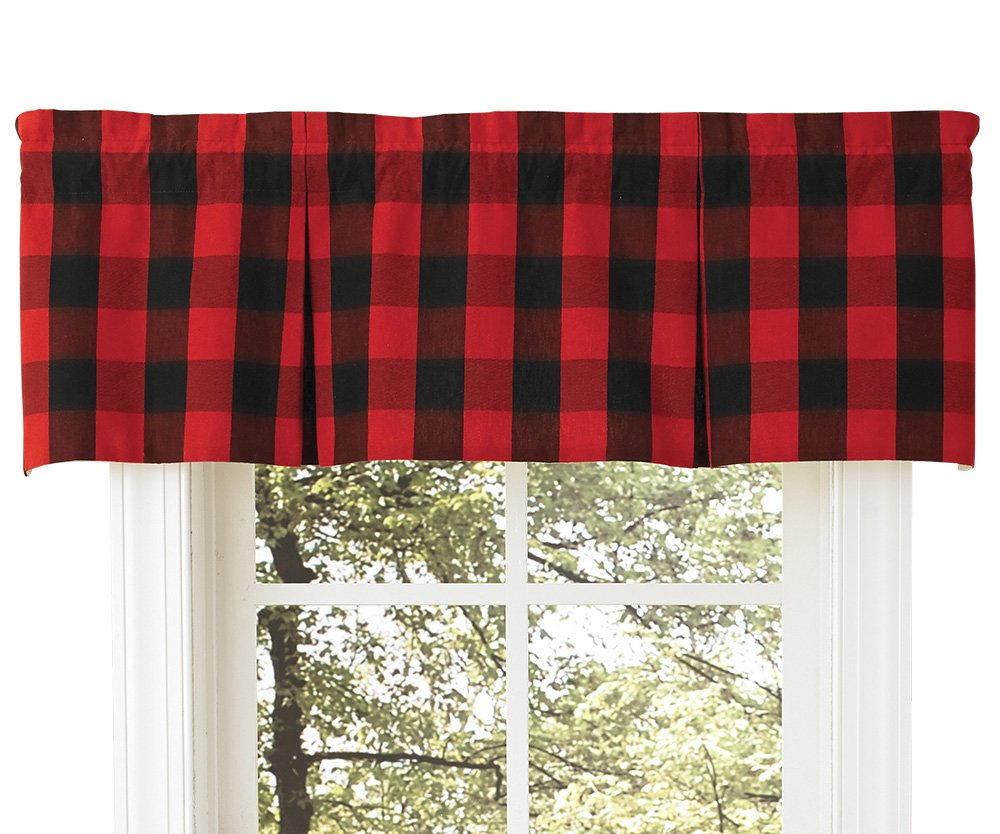 lovely Red And Grey Valance Part - 10: Amazon.com: Buffalo Check Lined Pleat Valance, 45 X 15 Window Curtain  Drapery: Home u0026 Kitchen