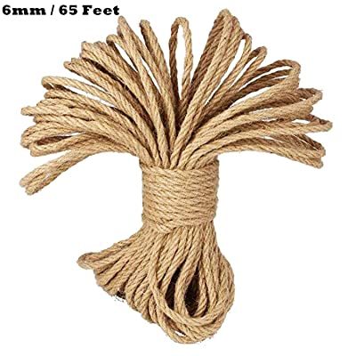CC CAIHONG 100% Natural Thick Strong Jute Rope 4 Ply Hemp Rope Cord for Arts Crafts DIY Decoration Gift Wrapping (6mm / 65 Feet)