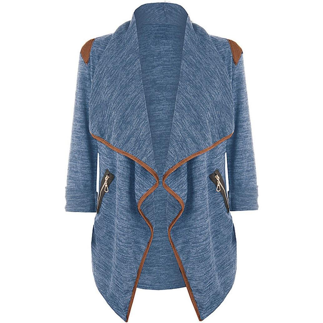 WM&MW Plus Size Cardigan Shirt,Womens Coats Open Front Knitted Casual Irregular Shawl Tops Jacket Outwear (Blue, Asian:2XL) by WM&MW