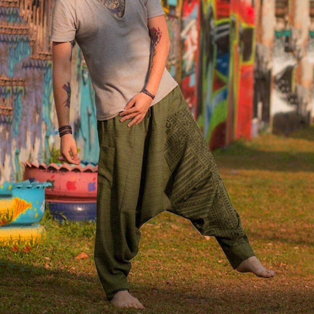 Mens Boho Hippie Baggy Cotton Harem Pants with Pockets Spiral Design HebeTop