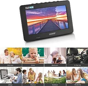leshp D7 7 Pulgadas portátil DVB-T2 televisor LCD Digital TV (DVB-T, DVB-T2, ATSC, ISDB-T, IDTV) Apoyo AVI, MOV, MKV, 3 GP, MP4 Formato – Digital & Analog TV para Cocina, Dormitorio, caravanas:
