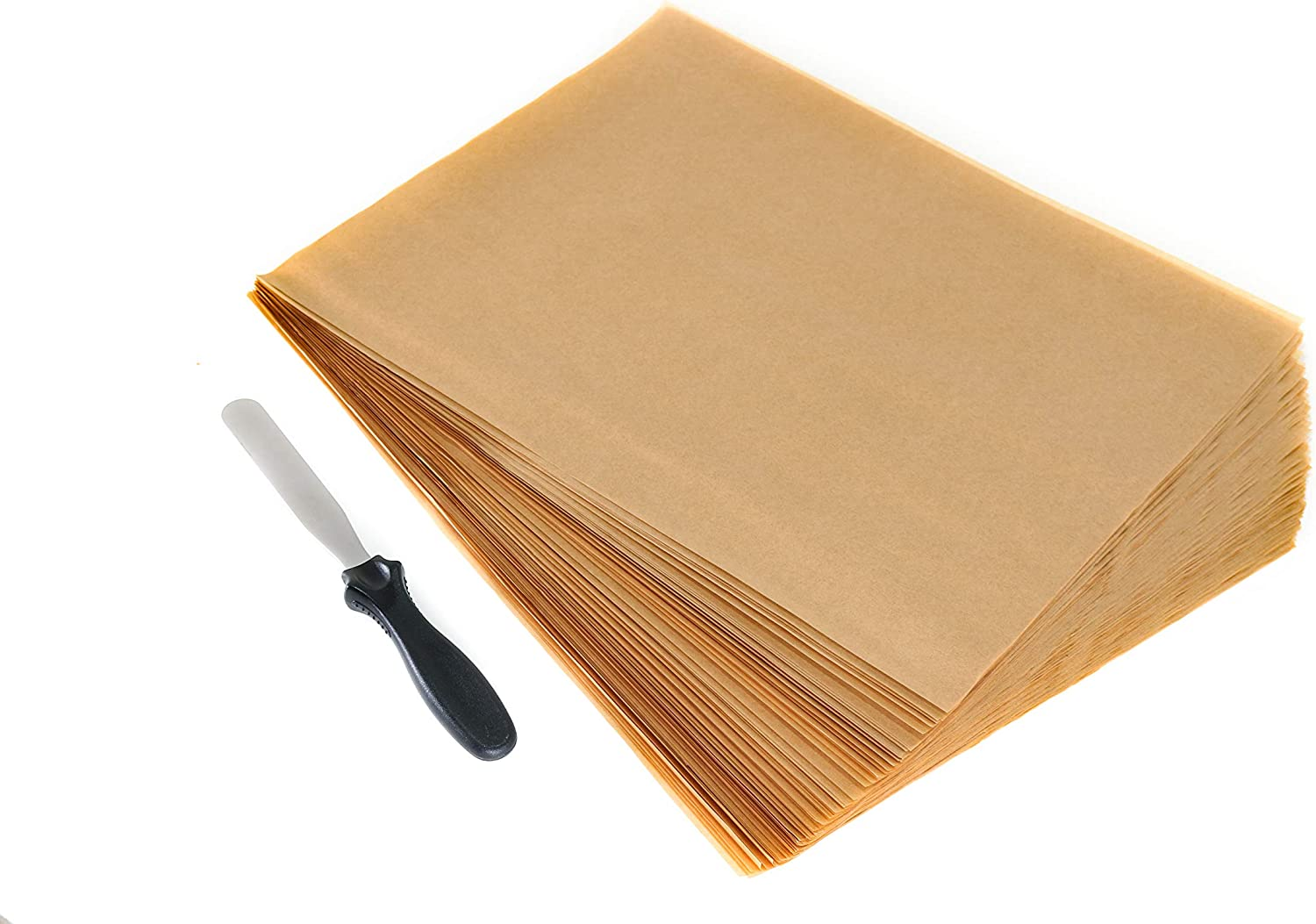 Mona Kai 100 Precut Unbleached Nonstick Parchment Baking Paper Sheet Liners 12 x 16 inches Complete with Stainless Steel Small Flat Spatula