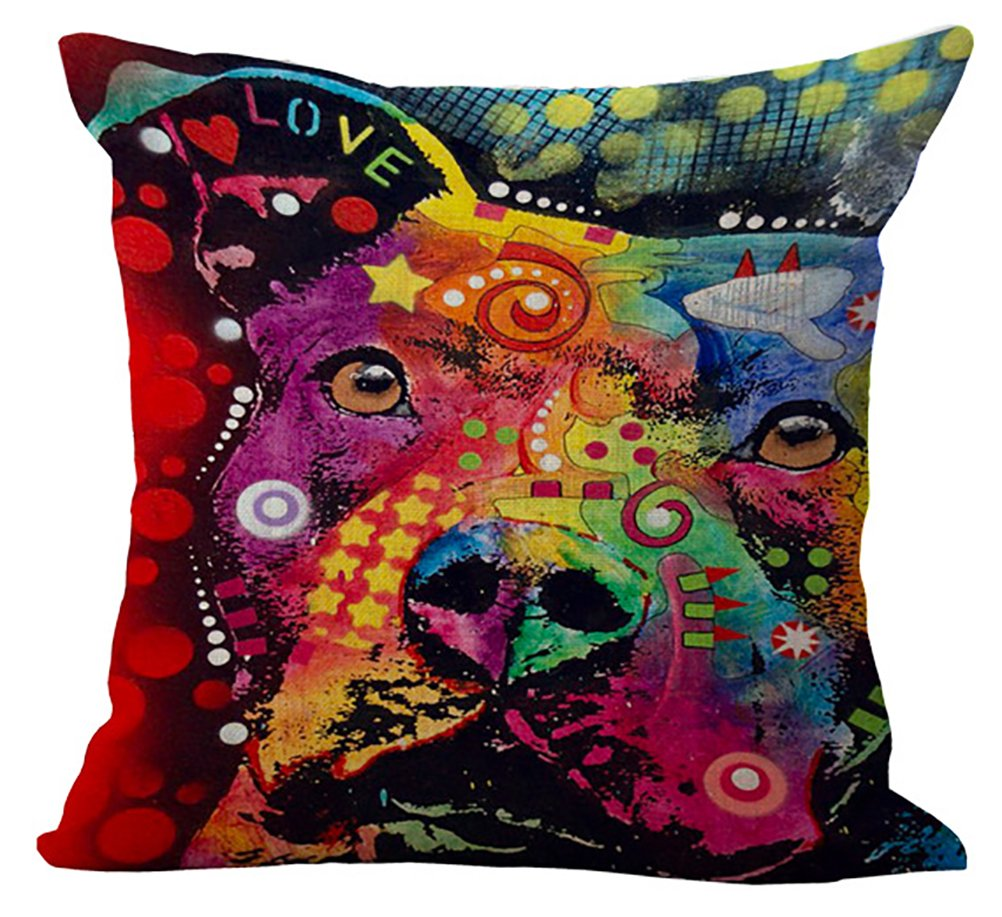 ChezMax Colorful Dog Cushion Cover Cotton Linen Throw Pillow Case Sham Square Pillowcase for Home Sofa Couch Kitchen Chair Seat Office