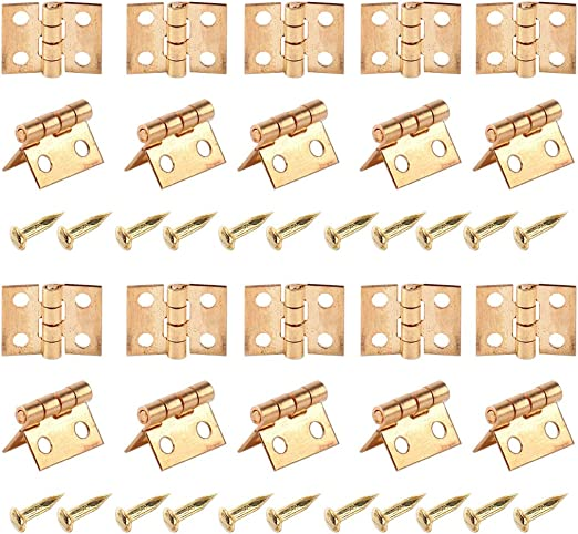 20x Dollhouse Miniature Hinges with Nails Screws fit Cabinet Furniture Closet