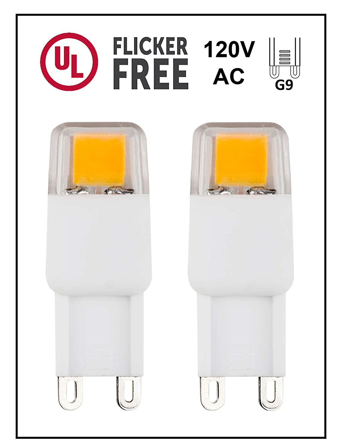 CBConcept UL-Listed, G9 LED Light Bulb, 2-Pack, Epistar COB 1.7 Watt, 220 Lumen, Not Dimmable, Pure White 6000K, 360° Beam Angle, 120 Volt, 25W Equivalent, Halogen G9 Replacement Bulb